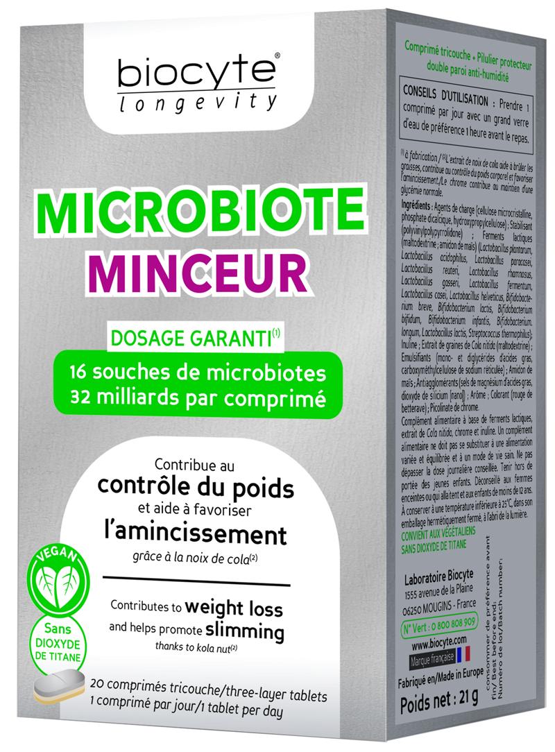 Comprar Biocyte Longevity Microbiote Minceur en Farmacia Central Andorra extracto de nuez de cola que contribuye al control del peso y ayuda a promover la pérdida de peso