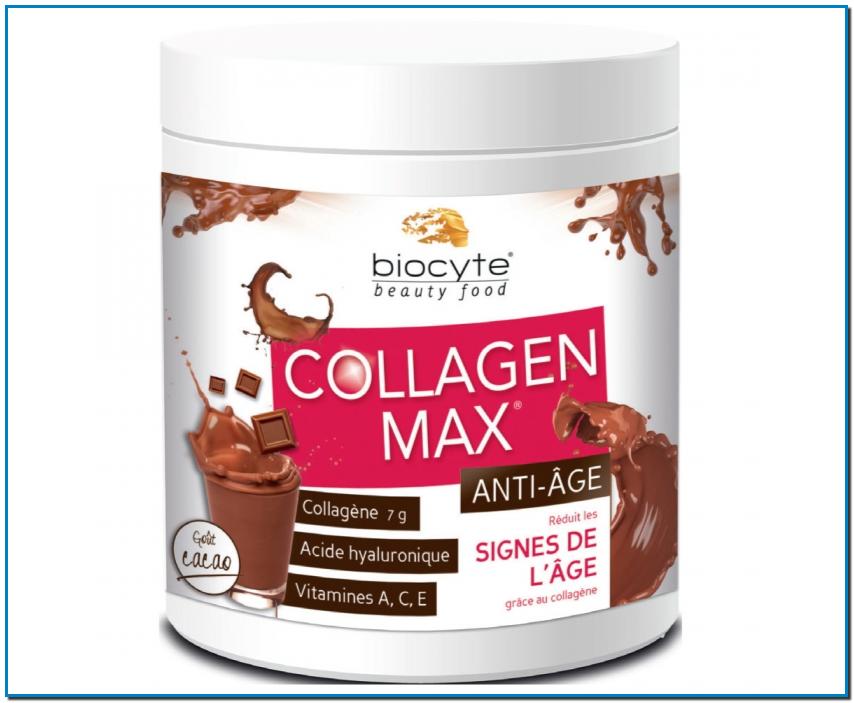 BIOCYTE Collagen Max Antiedad Colágeno, ácido hialurónico, vitaminas A, C y E Reduce los signos de la edad gracias al colágeno Complemento alimenticio Sabor cacao 20 dosis de 13 g El colágeno es uno de los componentes principales de la piel. Esta proteína desempeña un papel esencial para mantener la estructura de la piel, su elasticidad y su firmeza. Con la edad, la producción de colágeno disminuye notablemente, la piel pierde firmeza y elasticidad, y aparecen las arrugas profundas. ¿Para quién? Las personas a partir de 35 años. Las personas con arrugas profundas y pérdida de firmeza. Las personas que conocen los beneficios del colágeno y que buscan la dosis más alta del mercado.