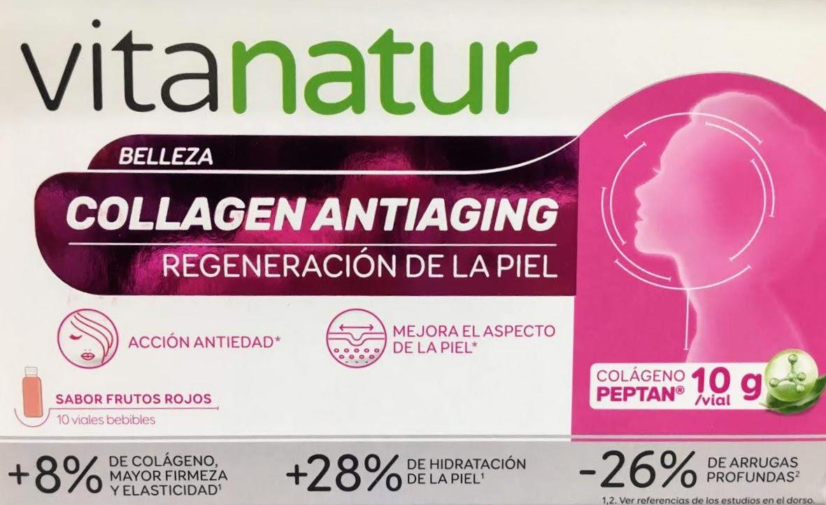 Comprar Vitanatur collagen antiaging en Farmacia Central Andorra complemento alimenticio a base de colágeno ácido hialurónico y otros activos presentado en viales para beber