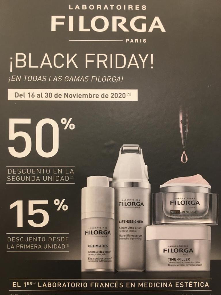 BLACK FRIDAY LABORATORIOS FILORGA: 50 % de descuento al pasar por caja en la 2ª unidad en toda la gama. 15% de Descuento en la 1ª compra.